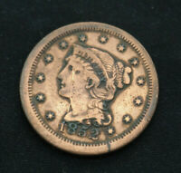1852 Philadelphia Mint Copper Braided Hair Large Cent; VF+