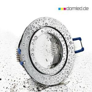 Hochwertiger Aluminium Einbaurahmen Schutzklasse IP44 rund chrom für Feuchträume