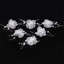 Bridal Wedding White Lace Pearl Flower Hair Pin Clip Handmade Headpiece Party