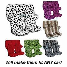 Animal Print Car Seat Covers (Full Set, Semi-custom) Zebra/Cow/Leopard/Tiger+
