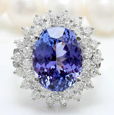 7.70CTW Natural Blue Tanzanite and DIAMOND in 14K Solid White Gold Women Ring