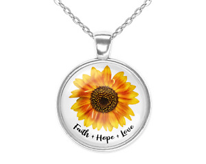 Faith Hope Love Sunflower Silver Glass Pendant Necklace New 20 Inch