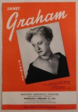 Janet Graham vintage classical handbill flyer Sf 1951 piano
