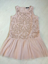 GIRLS PINK TUNIC TOP WITH ROSE GOLD SEQUINS, AGE 10-11 YEARS (ALSO FITS OLDER)