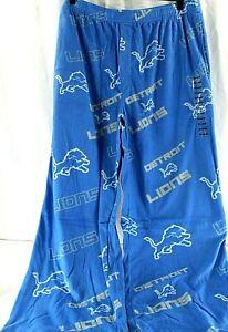 Detroit Lions NFL Microfleece PJ Bottoms Mens Blue/Silver 2XL