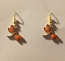 ORANGE ENAMEL DRAGONFLY charm drop earrings GOLD PLATED hook fastening