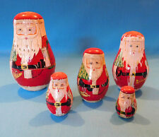 "Russian Nesting Doll Toy Matryoshka Santa Claus 9 PIECES ~ 5 DOLLS ~ 7"" TO 2"""