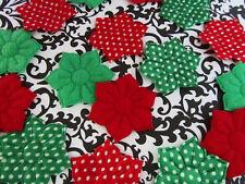 40 Red & Green Holiday Christmas Felt/Satin Dot Holly Flower Applique/Craft H562