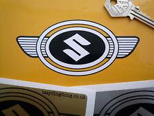 SUZUKI badge ovale précoce Ailé Style Moto Autocollant 112mm noir & blanc moto