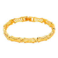 "7.8"" Filigree Unisex 14K Yellow Gold Filled Chain Bracelet A337 Free Shipping"