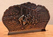 Hans Jensen Denmark Silver Plated Letter/Napkin Holder - Rustic Village Pattern