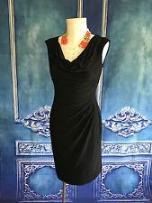 RALPH LAUREN Cowl Neck Side Ruched LITTLE BLACK DRESS SZ 10 Sheath Fitted Jersey