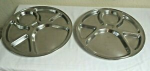 2 X 6 SECTIONS 18-8  STAINLESS STEEL THALI PLATES 36 W X 3 CM DEEP