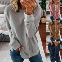 Women's Long Sleeve T-Shirt Blouse Ladies Casual Loose Tops Shirts Tee Plus LIU9