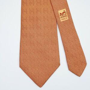 HERMES TIE 5065 PA Striped H in Orange Classic Silk Necktie