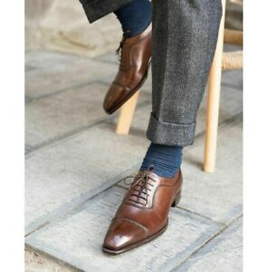 Handmade Men's Brown Leather Lace up Dress Shoes, Square Toe Shoes