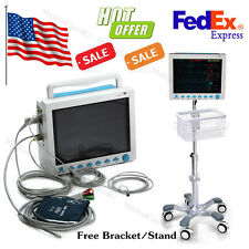 US Seller ICU Vital Signs Monitor 6 Parameters Patient Monitor with Stand, FDA