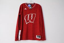 Adidas Basketball Wisconsin Badgers Long Sleeve Shooter Shirt Red Size M New
