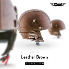 MOTO D22 LEATHER BROWN JET-HELMET VESPA SCOOTER RETRO PILOT VINTAGE S M L XL XXL
