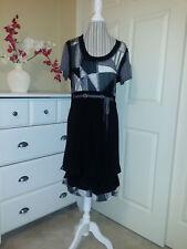 FRANK LYMAN Canada Design Black/Gray Combo Stretch Knit Draped Hem Dress Sz 14