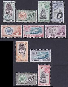 Sierra Leone 1961 Mint MLH Part Set Independence 11 values Diamonds Beach Lion