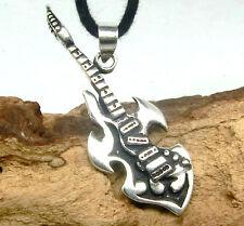 Gitarre Anhänger Silber 925 E Gitarre Musik Metal Rock Anhänger incl. Band
