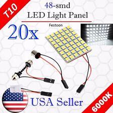 20 x Festoon T10 BA9S 48-SMD Panel Dome Map Interior LED Light Bulbs 12V - White