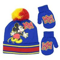 Disney Mickey Mouse Boys Beanie Knit Winter Hat And Mitten Set - Toddler Size