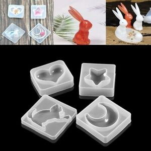 3D Moon Heart Start Cat Key Silicone Moulds Rabbits Resin Shape Crafting Jewelry