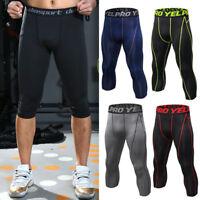 Men Compression Pants Capri Long Base Layer Leggings Sports Fitness 3/4 Trousers