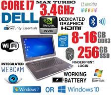 CORE i7 3.4GHz MAX TB (4 PROCESSOR) DELL NOTEBOOK w/8GB-16GB+256GB SSD+HDMI