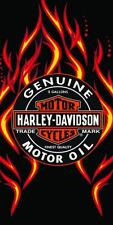 Harley Davidson Motorcycle Beach Bath Towel 30x60 Motor Oil Flames