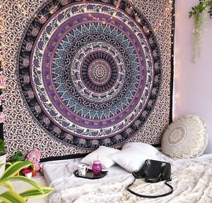Wall Mandala Tapestry Indian Hanging Hippie Decor Ombre Bohemian Bedspread Decor