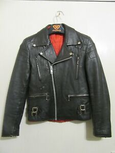 VINTAGE 70's LEATHER PERFECTO MOTORCYCLE JACKET SIZE XS RED LINING PATINA