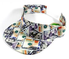 CASH MONEY HUNDRED DOLLAR BILLS VISOR ALL OVER PRINT SNAPBACK HAT CAP SUN RETRO