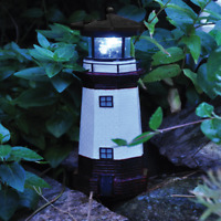 NEW Solar Powered Traditional Lighthouse Garden Ornament Motion and Light Effect