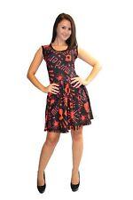 Black Red Blood Splatter Murder Print Rockabilly Sleevesless Dress Halloween Emo