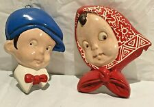 """Vintage Chalkware / Plaster Wall Hanging w/ Boy & Girl Faces - 5"""" Tall"""