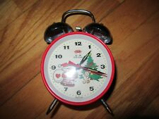8X/VINTAGE FIVE RAMS/BUNNY/SANTA CLAUSE/ANIMATED/TWIN BELL ALARM CLOCK/RARE!