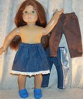"Doll Clothes Made 2 Fit American Girl 18"" inch Denim Jeans Skirt Brown Blue 3pcs"
