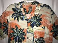 Pineapple Connection 100% Rayon Palm Trees Sunset Hawaiian Camp Shirt Men's XL