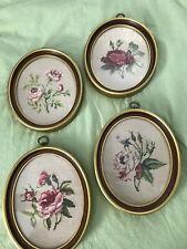 Vtg Framed Embroidered Floral Rose Needlepoint Pictures / Set of 4
