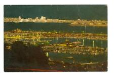 San Diego, CA  view of San Diego Bay at night  used  postcard 1967