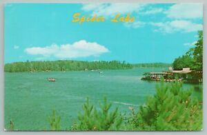 Manitowish Waters Wisconsin~Marina On Spider Lake~Vintage Postcard