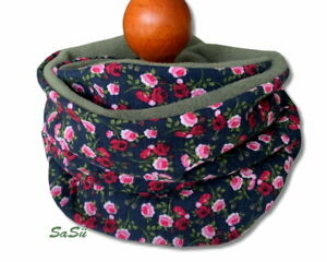 Loop ♥ Fleece ♥ Blumen ♥ Rosen ♥  Winter ♥ handmade ♥ Schlauchschal ♥ NEU Olive