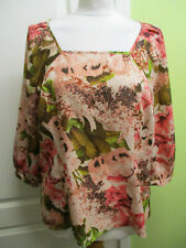 SIZE 14 WOMENS CHIFFON FLORAL PRINT BLOUSE TOP BY MONSOON 3/4 SLEEVES