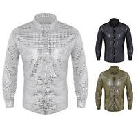 Mens Clubwear T Shirt Sequins Turn-down Collar Slim Tee Blouse TopsDance Club
