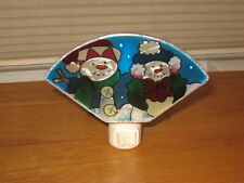JOAN BAKER DESIGN STAINED GLASS LOOK SNOWMAN NITE LITE