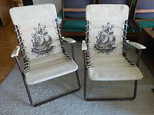 2 Vintage klappstühle Campingstuhl Schiffsmotiv dicker Leinenstoff 70er Jahre(L)