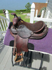 12'' Vintage  Leather Tooled PONY WESTERN  KIDS SADDLE